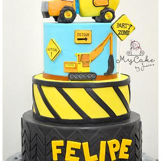 Construction theme cakes
