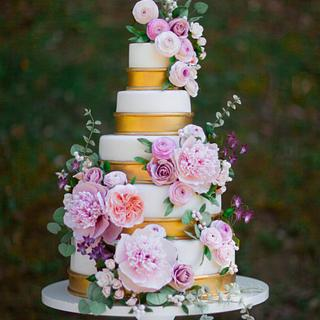 Romantic Sugar Flower Wedding Cake
