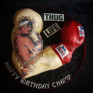 Boxing arm tattoo cake