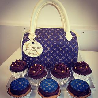 LV inspired handbag cake and cupcakes - Cake by Su