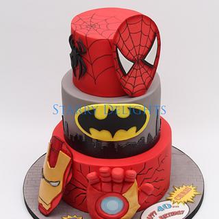 Superhero cake - ironman, batman, spiderman  - Cake by Starry Delights