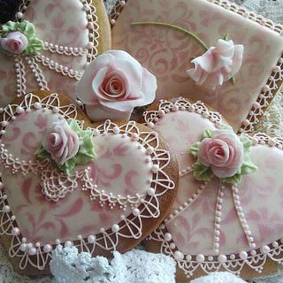 Royal icing cookie lace and roses etc.