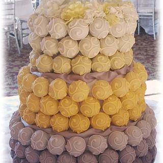 Yellow, gray and white Cake Bite Cake