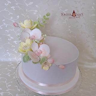 Birthday cake with orchid