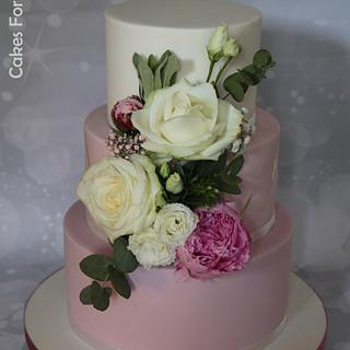 Wedding cake - old rose, marbled and white