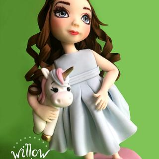 Little girl with unicorn, fondant cake decoration - Cake by Willow cake decorations