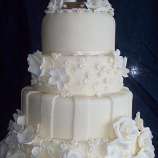 Ivory wedding, anniversary cake - Cake by Amy