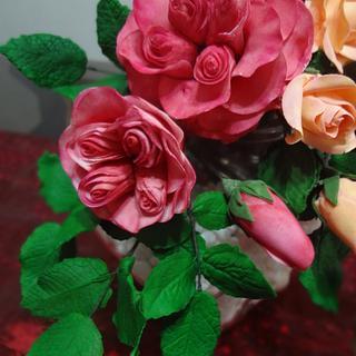 A Damasque Rose & a Cecile Rose