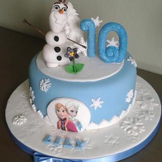 'Do you wanna build a Snowman?' 'Frozen' themed Birthday cake - Cake by Louise Hodgson