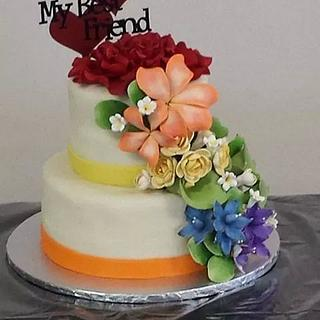 Wedding cake with floral rainbow effect - Cake by m1bame