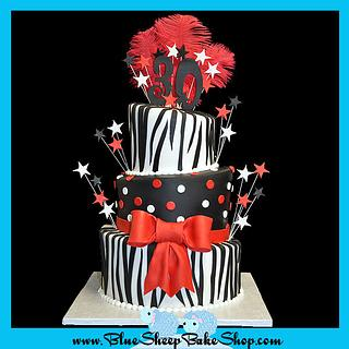 30th Birthday Cake - red, black, and zebra