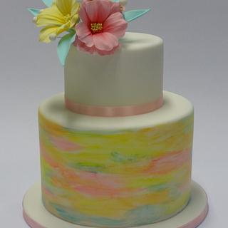 watercolor cake with sugar flowers