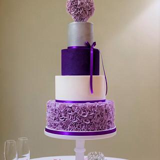 Purple Ruffle Wedding Cake