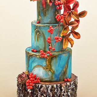 Wood and Stone Wedding Cake