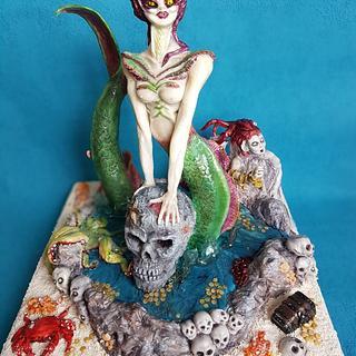 "My sea witch for CI  Birmingham ""Silver"" - Cake by Fanie Feickert-Sell"
