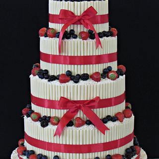 White chocolate cigarello wedding cake