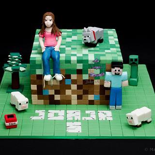 Minecraft Cake and handmade figures