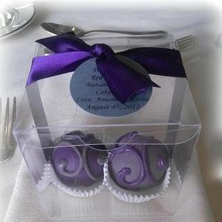 Pewter and Purple Cake Bite Wedding Favors