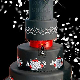 Black&Red Wedding Cake