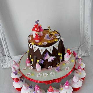 Baby's 1st enchanted forest birthday cake
