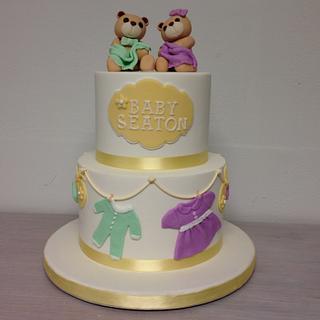 Baby shower bears cake, Pastel de baby shower con ositos