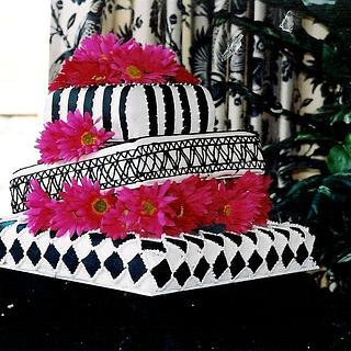 Pink Black and White Cake