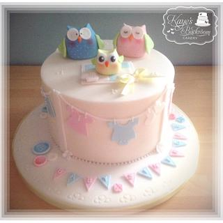 Cute owl baby shower cake