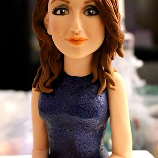 """Girl in a blue dress"" cake topper"