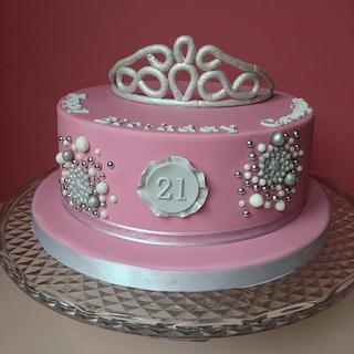 Sparkly Tiara 21st cake