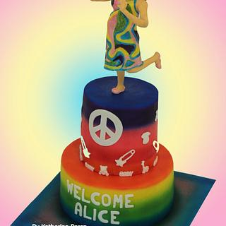 Hippie mommy cake topper - Baby shower cake
