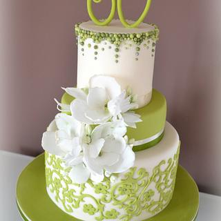Green and wafer paper flowers