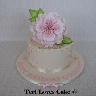 Ivory English Rose Cake