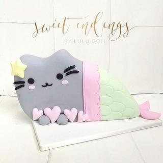 Pusheen Mermaid Cake - Cake by Lulu Goh