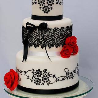 White and black wedding cake  - Cake by Marie