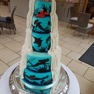 Diving themed reveal wedding cake - Cake by Stacys cakes