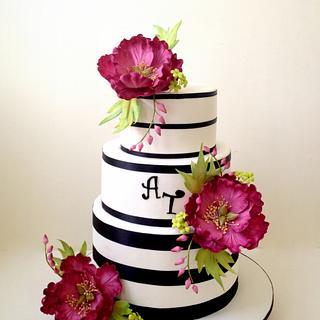 Fuschia themed Wedding Cake with Peonies sugarflower