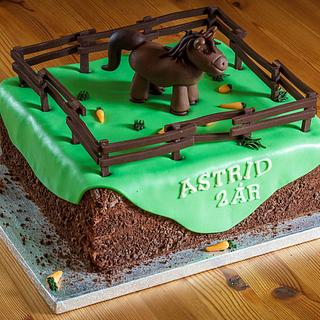 Birthday cake with horse in field
