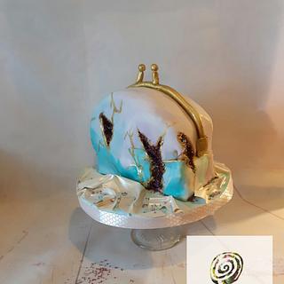 Geode handbag cake