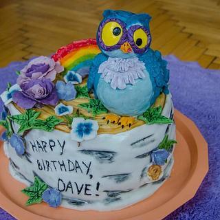 A wacky owl with a rainbow cake - Cake by Sweet Art decorations