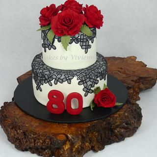 Rose and Lace 80th Birthday Cake - Cake by Cakes by Vivienne