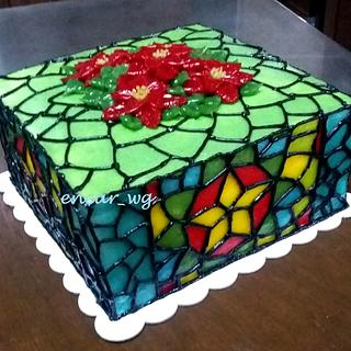 Translucent Buttercream Stained Glass Cake