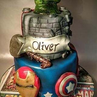 Marvel Avengers Hulk smash cake