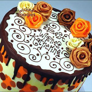 Leopard Print Rose Cake