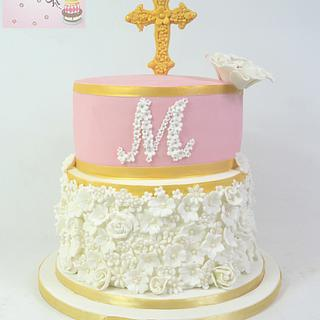 pink and gold christening