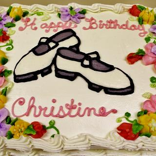 Clogging shoe cake with buttercream flowers