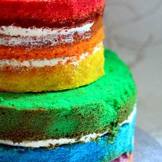 naked raibow cake