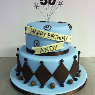 50th Birthday Cake in Blue and Chocolate Brown
