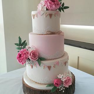 Pink Floral Bunting Wedding Cake