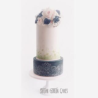 Roses with Greys - Cake by LJay -Sugar Goblin Cakes