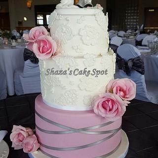 Lace and Blush Wedding Cake